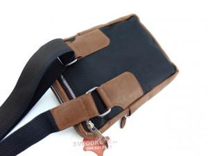 Sportska torbica 2 koža platno braon natur