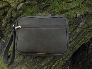 Ručna kožna torbica nubuk tamno braon
