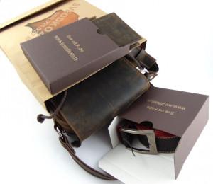 Tamno braon brušena torba novčanik bez kopče i brušeni kaiš