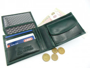 Tanki muški kožni novčanik sa dodatkom za kartice tamno zeleni