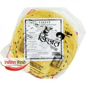 Lijjat Green Chilli Papads (Snacks Indian cu Ardei verde) 200g