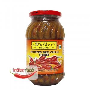 Mother's Recipe Stuffed Red Chilli Pickle (Muraturi de Ardei Rosii Umpluti in Stil Indian) 500g