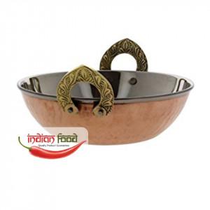 Copper Bottom Kadai with Handle (Bol Indian din Cupru cu Manere Laterale Kadai)