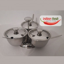 """Steel Pickle Pot """"3 in One"""" with Spoons (Recipient Indian din Otel 3 in 1 cu Lingurite)"""
