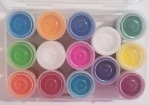 Rangoli Colours Box 14 Btls ( Pudra Rangoli 14 buc/cutie)