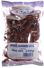 TOPOP Chillies Whole Kashmiri (Ardei Rosu Intreg, zona Kashmiri) 250g
