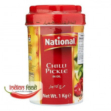 National Green Chili Pickle In Oil 1Kg