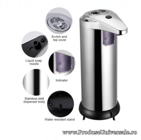 Dozator automat sapun lichid/Dozator sapun lichid cu senzor, 250 ml