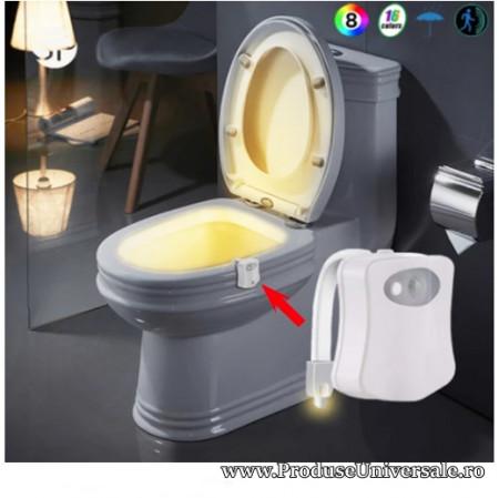 Lampa wc cu led,premium,8 culori intr-o singura lampa+senzori