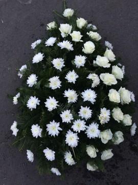 Poze Coroane Funerare Crizantema Alba Cu Diagonala Trandafiri Albi