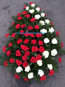 Poze Coroane Funerare Ieftina Garoafe Rosi Cu Trandafiri Albi