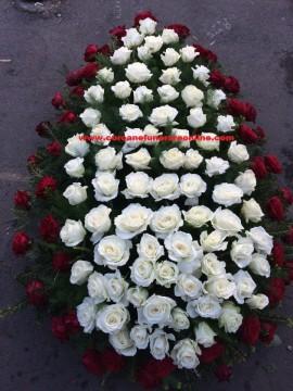 Poze Coroane Funerare Online Trandafiri Albi Cu Rosu