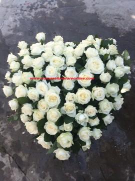 Poze Coroane Funerare Inima Trandafiri  Albi