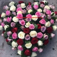 Coroane Funerare Bucuresti Inima Trandafiri Asortati