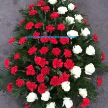 Coroane Funerare Ieftina Garoafe Rosi Cu Trandafiri Albi