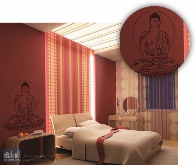 brico deco stencil xxl buddha. Black Bedroom Furniture Sets. Home Design Ideas