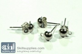 Ear post dome small ER1, 10sets  chrome.silver images