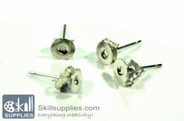 Ear post disc small ER3, 10sets  chrome.silver