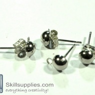 Ear post dome small ER1, 10sets  chrome.silver