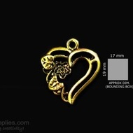 Antique gold finish Heart flower