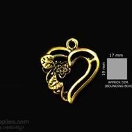 Antique gold finish Heart flower