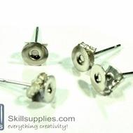 Ear post disc small ER3, 10sets  chrome.silver