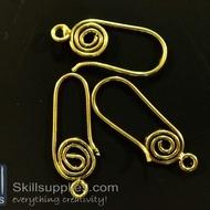 Ear loops style 2 ER15  ,6 pcs   gold