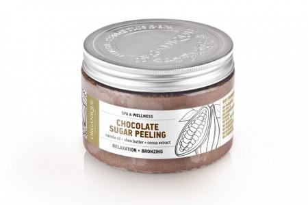 Exfoliant bronzant corp, cu zahar si ciocolata, Organique, 450 ml