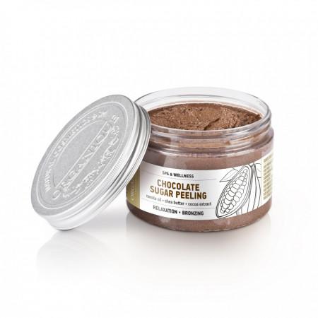Exfoliant bronzant cu ciocolata si cristale de zahar, Organique, 100 ml
