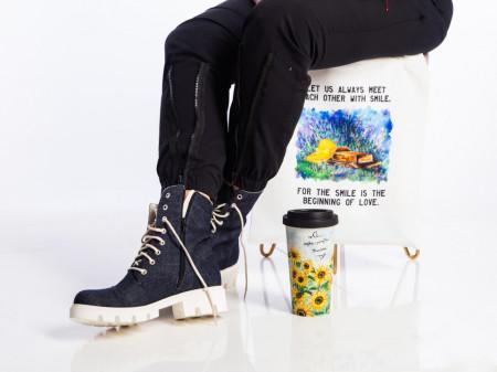 Clasic Denim Boots White Sole