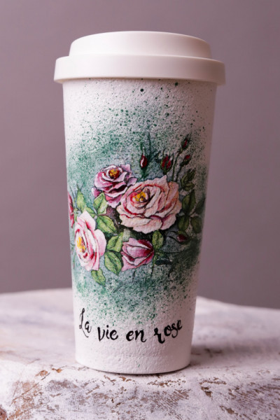 Mixed technique coffee to go cup