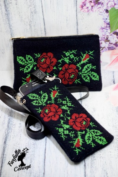 Romanian traditional embroidered wallet and phone holder
