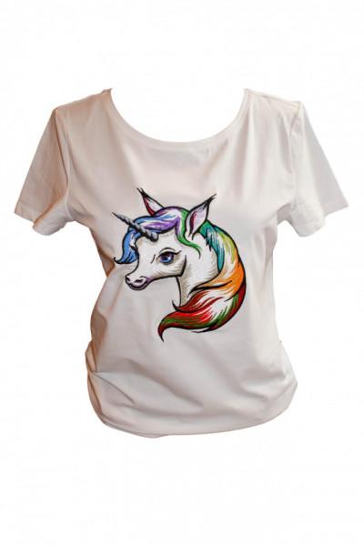 Women T-shirt, Rainbow Unicorn