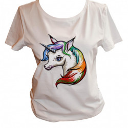 Women T-shirt, Rainbow Unicorn