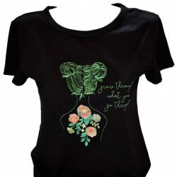 Women T-shirt, Flower Tatoo Girl
