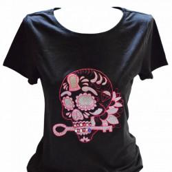 Women T-shirt, Pink Skull