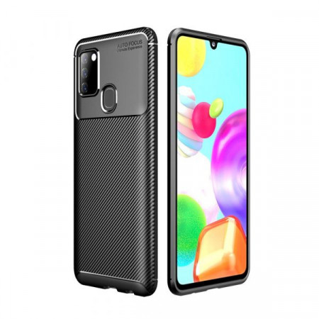 Fusion - Carbon Fiber Skin Drop Resistant TPU Cover for Samsung Galaxy A21s - Black
