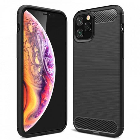Husa Carbon Silicone - iPhone 12 / 12 Pro - Black