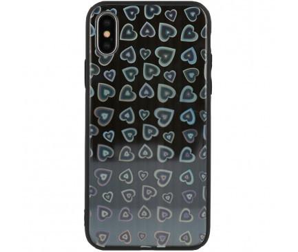 Husa TPU Vennus Heart Cu Spate Din Sticla Pentru IPhone X / IPhone XS, Neagra