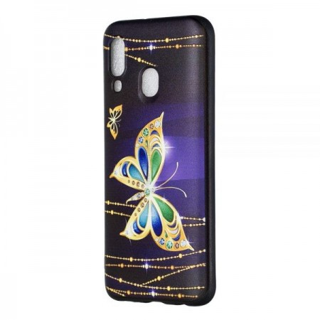 Husa Tech Embossment Patterned TPU Samsung A40 – Diamante Butterfly