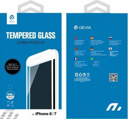Folie sticla (Tempered Glass) DEVIA iPhone 7 Plus si 8 Plus ce acopera tot ecranul (margini negre) 0.18mm + folie spate TPU