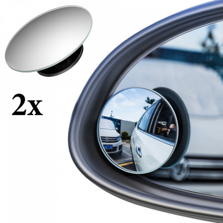 [2 PCS] Fullview Blindspot Round Car Mirror - Black