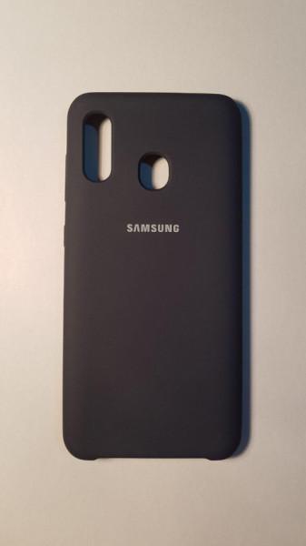 Husa Silicone Cover logo Samsung A20 Black