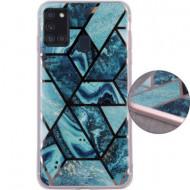 Geometric Marmur Case for Samsung A72 4G / A72 5G dark blue