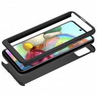 Husa Samsung A51 Full Cover 360 + folie sticla, Negru
