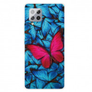 Fusion - Pattern Printing Flexible High Quality TPU Phone Case for Samsung A42 5G - Red Butterfly