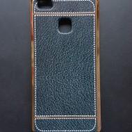 Husa silicon piele-cusatura Huawei P9 lite - Negru