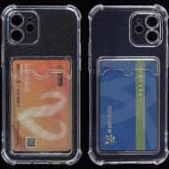Husa silicon transparent cu buzunar pentru iPhone X / Xs