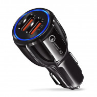 Incarcator Auto Qualcomm Quick Charge 3.0, Dual USB 5V/6A - Negru