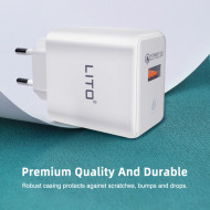 LITO - Incarcator Priza QC 3.0 / 3A - Q0-101 - Micro USB - White